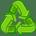 Icone com setas verdes representa retorno ou reciclável
