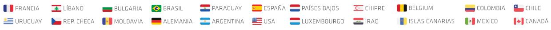 Todas as bandeiras dos paises que a foa representa